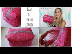 Instructions and Materials List: More simple sewing tutorials! This is an easy, beginner friendly zippered box pouch tutorial…. Quilting Tutorials, Sewing Tutorials, Sewing Patterns, Beginners Sewing, Bag Tutorials, Purse Patterns, Knitting Patterns, Sewing Hacks, Sewing Crafts