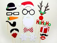 Christmas photo booth DIY paper or sewing crafts. Party decorations, favors, activities or photo props. Great idea for kid and family fun.