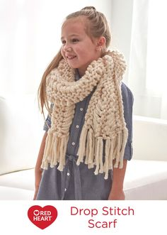 Drop Stitch Scarf Free Knitting Pattern in Red Heart Yarns -- This scarf knits up quickly and is perfect for everyone, including the stylish little girl in your life!