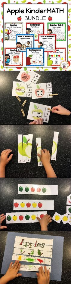 Looking for some great hands on math center activities? Try this apple themed KinderMath bundle. Your kindergartners will working number recognition, sequencing, patterning and more! Preschool Puzzles, Craft Activities For Kids, Motor Activities, 1st Grade Centers, Math Centers, Kindergarten Homeschool Curriculum, Kindergarten Math, Tree Study, Apple Theme