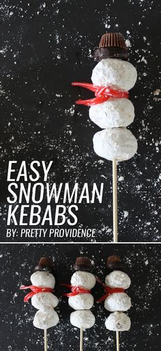 These easy snowman kebabs are beyond adorable! Your little ones will love you for this delicious winter treat! Gotta love festive AND easy!