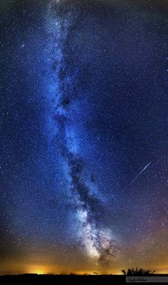 """Milky Way and the Perseids ´´My first try to capture the Milky Way. Fortunately I captured a falling star too. """"He"""" was a member of the Perseids meteor shower. This is a vertical panorama from 6 pictures. `` by Czakó Balázs on 500px"""