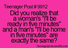 Or just five more minutes for a women doing there makeup or trying to get ready is the same as five more mins of football for a man