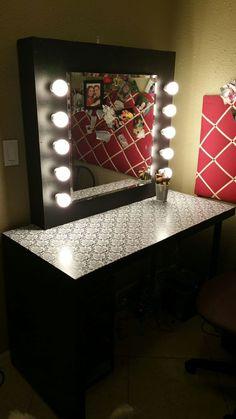 Vanity Mirror With Lights: 9 Steps Room Lights Decor, Dressing Table Mirror, Dressing Room, Diy Makeup Vanity, Makeup Room Decor, Glam Room, Mirror With Lights, Beauty Room, Diy On A Budget