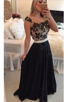 Sheer Lace Black Chiffon Backless Prom Gowns,Capped Sleeves Pearls Belt Evening Gowns N37