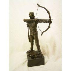 """Skulptur """" Bogenschießen""""   Höhe ca.     Diese Kunstwerke werden aus hochwertiger Zinnlegierung hergestellt. Sie sind auf einem Marmorsockel montiert.   EUR 72.50   www.feine-produkte.de"""