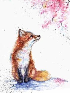 Super-Tattoo Ideas Dog Foxes Ideas - Super-Tattoo Ideas Dog Foxes Ideas You are in the right place about Super Tattoo Ideas Dog F - Watercolor Animals, Watercolor Print, Fox Watercolour, Watercolor Tattoo, Cute Animal Drawings, Cute Drawings, Horse Drawings, Art Fox, Fuchs Illustration