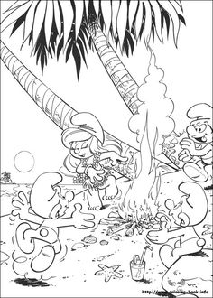 the smurfs smurfette dancing hula hula coloring page - Smurf Coloring Pages