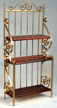 copper kitchen bakers rack - This is for a doll house but I'd get one custom made just like this for my kitchen and the shelves would be copper Iron Furniture, Steel Furniture, Home Decor Furniture, Furniture Design, Steel Gate Design, Iron Gate Design, Metal Bending Tools, Metal Working Tools, Welding Design