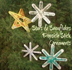 More Popsicle Stick Ornaments - Stars & Snowflakes
