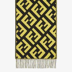 Multicolor cashmere scarf - SCARF | Fendi Fendi Scarf, Cashmere Scarf, Black N Yellow, Silk Ties, Scarf Wrap, Italy, How To Make, Scarves, Italia