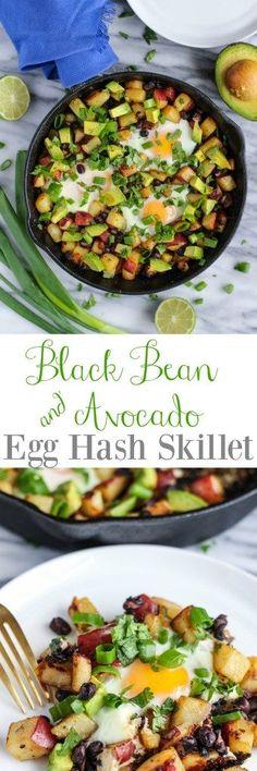 Black Bean & Avocado Egg Hash Skillet - pumpkinandpeanutbutter