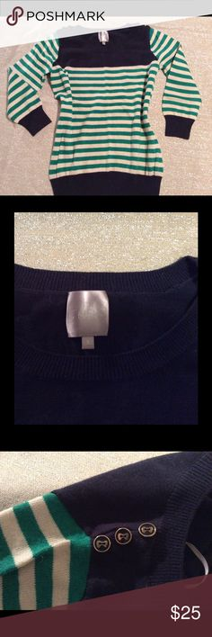 Modcloth striped navy and emerald sweater Emerald and ivory striped sweater with navy accents. Cute buttons on the shoulder, never worn but tags have been removed. 23.5 shoulder to hem and 17 wide. ModCloth Sweaters Crew & Scoop Necks