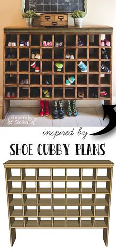 Inspired by a vintage mail sorter, this DIY shoe cubby is the perfect piece of furniture to help you wrangle shoes. Free plans to build your own! Kids Shoe Organization, Shoe Organizer Entryway, Entryway Organization, Organizing, Diy Organizer, Entryway Ideas, Cubbies, Cubby Shelves, Shoe Cubby Storage