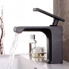 Modern Waterfall Single-Handle 1-Hole Elegant Square Bathroom Sink Faucet