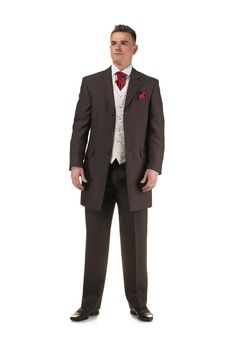 Brown Prince Edward suit with red cravat and handkerchief - http://formallyyours.co.uk/  #wedding #suit #tailoring