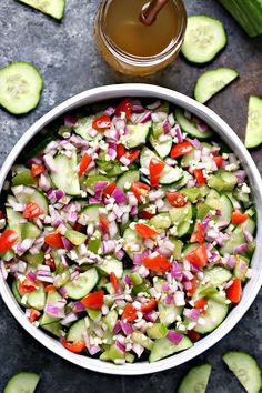 Cucumber Salad with Meyer Lemon Vinaigrette from cravingsofalunatic.com. This quick and easy Cucumber Salad with Meyer Lemon Vinaigrette is perfect for picnics and potlucks. This recipe is packed with flavor yet incredibly simple to make. #cucumber #salad #sidedish