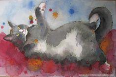 cat catching colors 0'9 aquarelle 70/50cm - Chiens et Chats