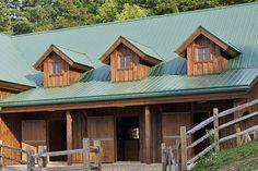Gable Dormers on a Horse Barn.  www.sandcreekpostandbeam.com https://www.facebook.com/SandCreekPostandBeam