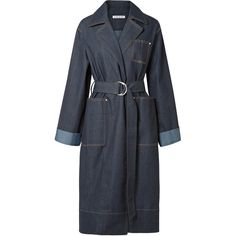 Elizabeth and James Fletcher belted denim coat (1.685.220 COP) ❤ liked on Polyvore featuring outerwear, coats, dark denim, oversized coats, denim coats, oversized denim coat, belted coat and elizabeth and james coat