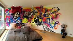 Awesome Graffiti Bedroom High Quality Picture with Wooden Floor Décor Idea