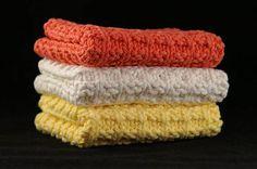 Knit Dishcloths, Tangerine, Ecru, Yellow, Set of 3, Knit Washcloth, Cotton Washcloth, Housewarming Gift, Face Cloth, Eco Friendly, Linens
