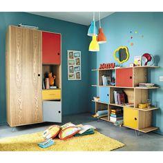 Bibliothèque enfant multicolore et dressing HAPPY, tapis jaune MAGIC | Maisons du Monde