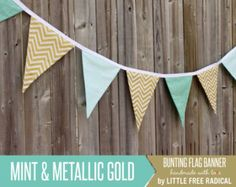 Mint & Metallic Gold Fabric Pennant Bunting Banner -   great for birthday party decor, nursery, playroom, photo prop