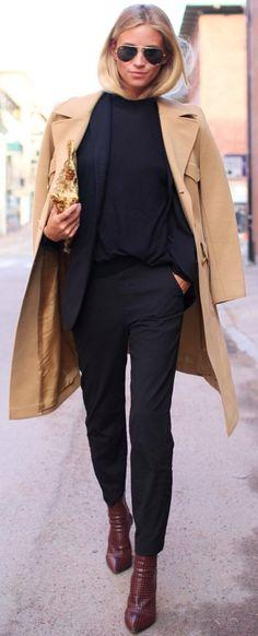 #fall #street #trends   Camel Coat   All Black