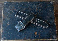 22x22mm Black leather watch strap PAM style by VladislavKostetskyi