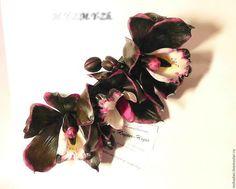 Barrette with black Orchid barrette automatic barrette with flowers,black orchids,original works,handmade,ceramic floristry
