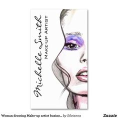 Woman drawing Make-up artist business card design (Watercolor Business Card Projects)