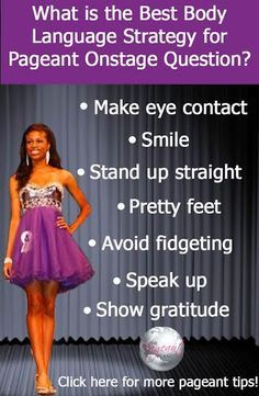 to Answer Pageant Interview Questions Nail your on stage question by knowing what the best body language strategy is from us at TPP.Nail your on stage question by knowing what the best body language strategy is from us at TPP. Beauty Pageant Questions, Pageant Interview Questions, Pageant Tips, Miss Pageant, Teen Pageant, Glitz Pageant, Pageant Hair, Pageant Crowns, Pageant Interview Dress