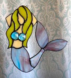 Mermaid stained glass suncatcher by MilieuGlassworks on Etsy