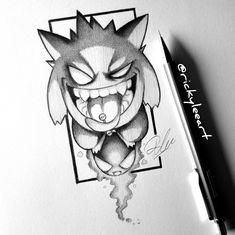 Artwork done by myself Ricky Lee Frost check out Dark Art Drawings, Art Drawings Sketches, Cartoon Drawings, Cartoon Art, Gengar Tattoo, Pokemon Tattoo, Pokemon Sketch, Graffiti Characters, Graffiti Drawing