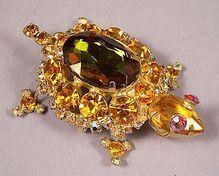 Magnificent Vintage Juliana Amber Golden Crystal Turtle Brooch Pin. www.rubylane.com/aplaceofdistinction