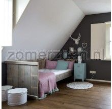 meisjeskamer met kajuitbed om te chillen. Dit bed kan uitgevoerd worden met een logeerlade of 2 opberglades. Bekijk het bed in onze winkel in Milheeze.
