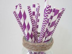 Purple Paper Drinking Straws ~ Chevron ~ Stripe ~ Rugby ~ Wedding ~ Party ~ Baby Shower ~ Birthday Party