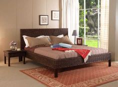 Awesome Excellent Brown Wicker Rattan Mid Century Queen Bed Frame ...