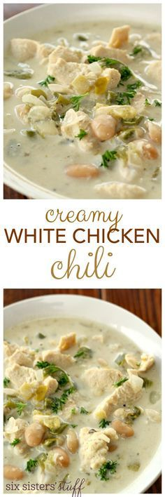 Creamy White Chicken Chili from SixSistersStuff.com  Easy & Excellent...highly recommend.
