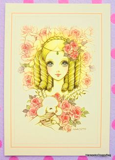 An illustration of kawaii girl roses and a poodle. This is a greeting card released for a Macoto Takahashi Japanese shojo art exhibition in Tokyo, Japan