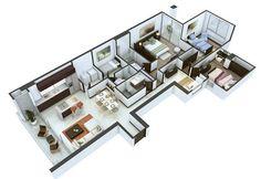 Spelndid 3 bedroom design layout 25 more floor plans architecture. 3d House Plans, 4 Bedroom House Plans, Model House Plan, Small House Plans, Rv Floor Plans, Apartment Floor Plans, Home Design Plans, Plan Design, Free House Design