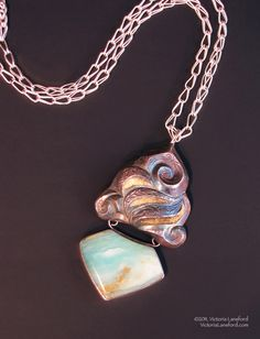"""Indira II Eastern repousse, chased, and kum boo pendant from on a Roman chain, Sterling, 22k, 24k gold, fine silver, Peruvian opal 