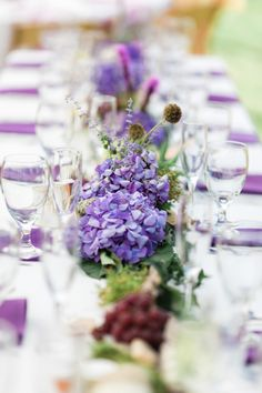 purple wedding table centerpiece - Dan and Melissa - Belle The Magazine