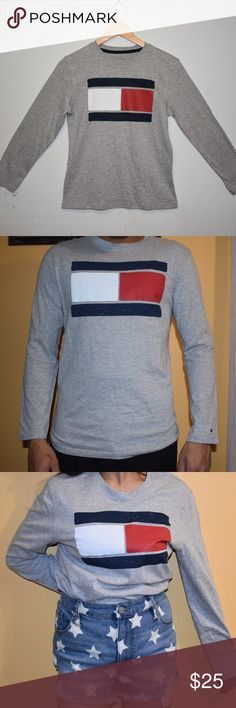 """❤❤ BOYS/tommy hilfiger heather long sleeve shirt- BOYS Tommy Hilfiger heather long sleeve shirt-M COTTON Medium boys 12/14   I have one of this also  even though it's for boys but it really doesnt matter .haha !! looks unisex,,(please see photos ) please measure your body frame before purchasing ..It's like wearing a boyfriend shirt.! very cool!   Here is the measurements that might fit your body frame : #MEDIUM SIZE# Pit to pit: 19 inches shoulder to hem: 26 inches sleeve length : 22.5""""…"""