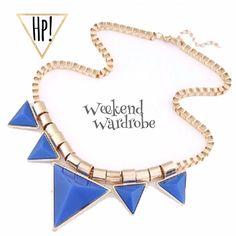 "H͙P͙Trendy Blue Triangle Statement Necklace! Blue & Gold Triangle Statement Necklace Fashion Statement Piece! Geometric Jewelry is a Top Fashion Trend!  -Materials: Alloy & Rhinestone  -Lead & Copper Free -Chain Length ~ 18"", 2"" adjustable extender, Lobster clasp closure -Pendant Size: Approx. 1.5"" X 1.5""   Price Firm unless Bundled! Bundle 2 or more items for 20% Discount! Posh Rules Only.                                                H͙P͙ 2/28/16 ""ᴡᴇᴇᴋᴇɴᴅ ᴡᴀʀᴅʀᴏʙᴇ"" ᴘᴀʀᴛʏ, sᴇʟᴇᴄᴛᴇᴅ ʙʏ…"