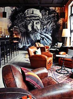 Get inspiration for your bar project! Interior design trends to help to decor your bar! Cafe Bar, Bar Deco, Hamburg City, Bar Hamburg, Hamburg Germany, Deco Restaurant, House Restaurant, Graffiti Restaurant, Cool Restaurant Design