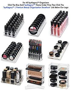 http://Amazon.com: Acrylic Palette Organizer (Standard Sized Palettes) With Removable Dividers Contains 8+ Space Storage | byAlegory (Black Clear) Makeup Organizer: Beauty