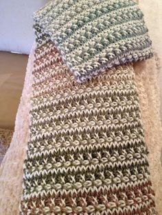 Crochenit or double-ended crochet, aka cro-hooking If you haven't tried this technique, you must. It's starting to enjoy a revival again. Makes a lovely two-sided fabric. I used a self-striping yarn on one end and cream on the other. Tunisian Crochet, Knit Or Crochet, Crochet Scarves, Crochet Motif, Crochet Crafts, Crochet Hooks, Crochet Projects, Crochet Instructions, Crochet Stitches Patterns
