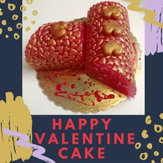 """""""Pomegranate Infusion"""" : A  Dark Pink Artfully-designed Glycerin Soap Cake, Pomegranate scent, made to look like a bakery cake, while all decoration is real Soap! This pretty Artfully designed Scented Soap Cake provides a perfumed version of a favored Valentine's day bakery cake! Whether it's your first Valentine's Day as an engaged couple or your twentieth year together, this Exclusive  Designer Creation with hearts makes a bold statement about how you feel."""
